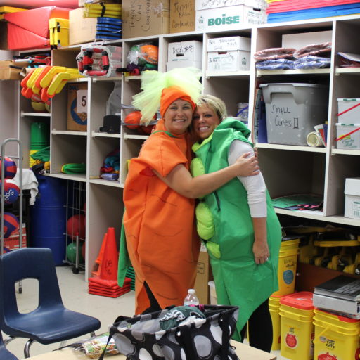 Teachers dressed as veggies.