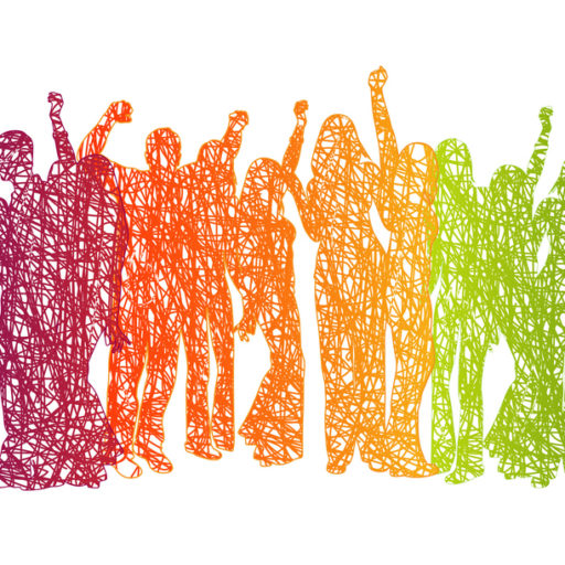 Large Crowd Rainbow Scribble